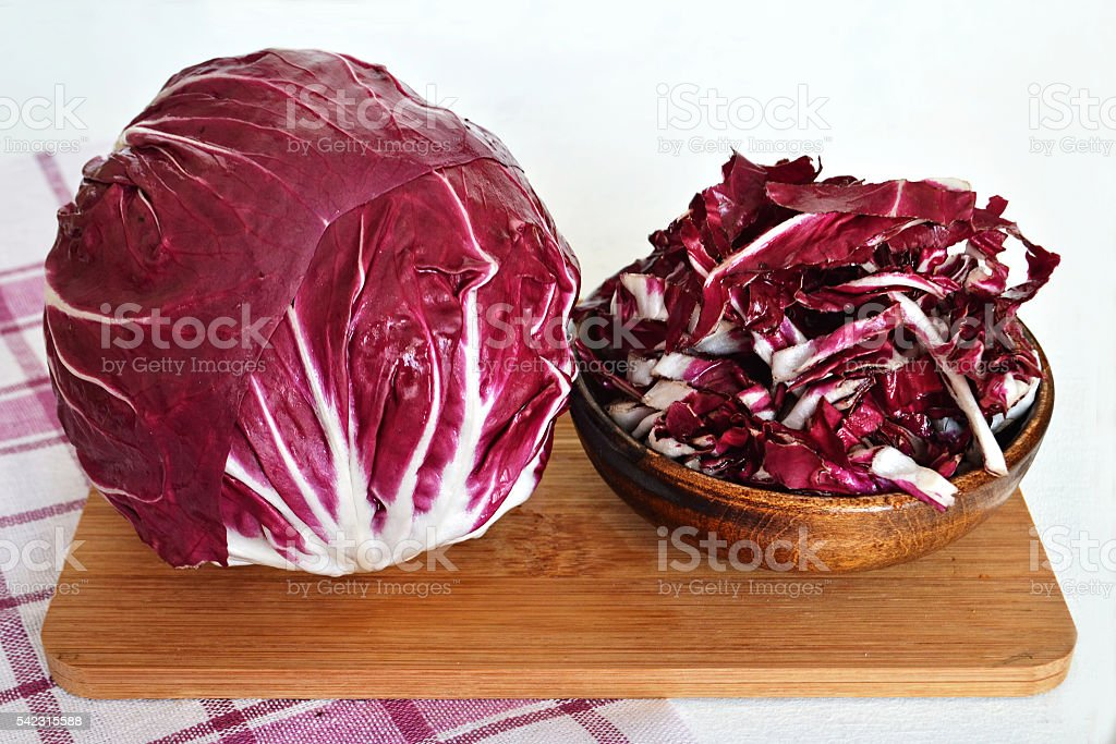 Red salad on kitchen board stock photo