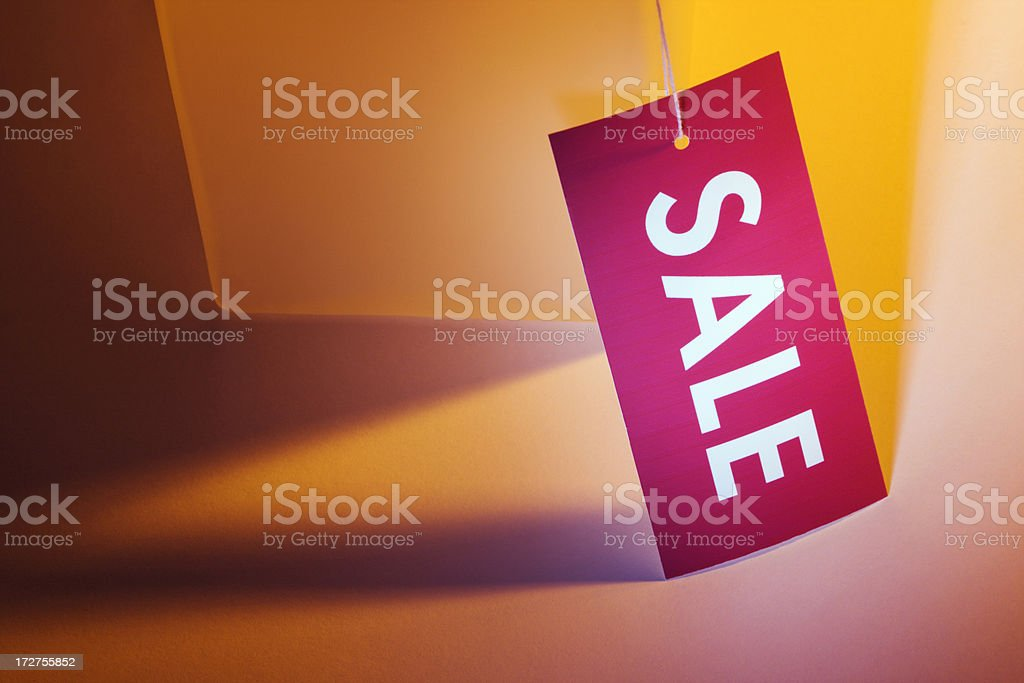 Red Sale Tag on Orange royalty-free stock photo