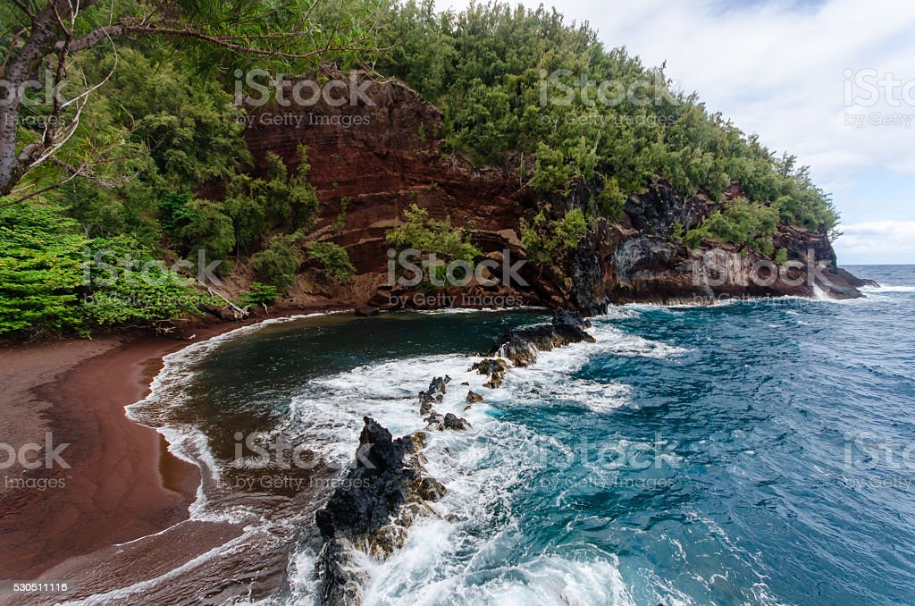 Red Sand Beach stock photo