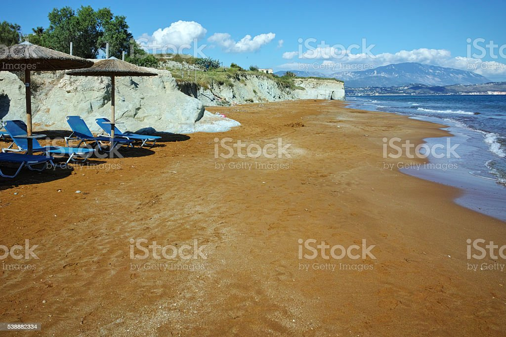 Red sands of xsi beach, Kefalonia, Greece stock photo
