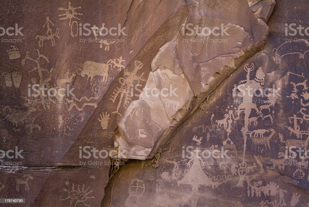 Red Sandstone Inscribed with Petroglyphs Canyonlands National Park Southwestern Utah royalty-free stock photo