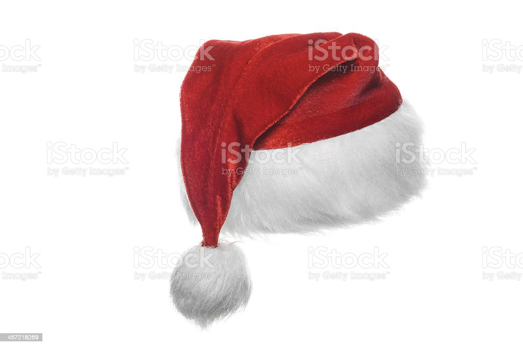 Red santa hat, isolated on white stock photo