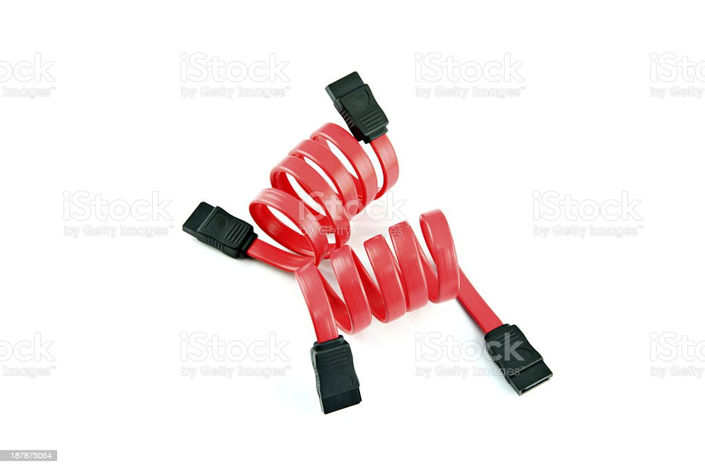 Red SATA cable. stock photo