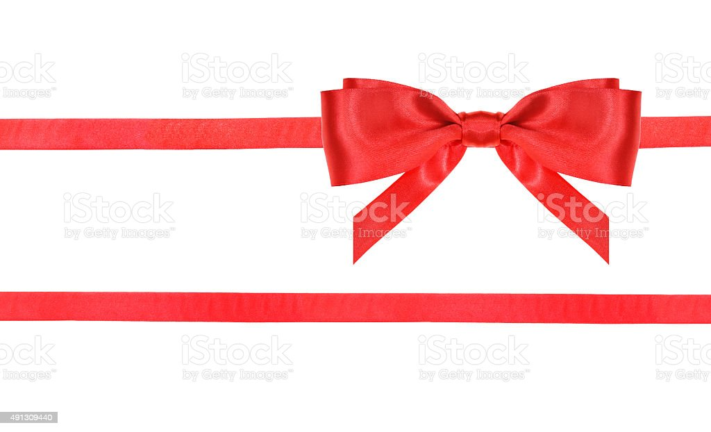 red satin bow knot and ribbons on white - 22 stock photo