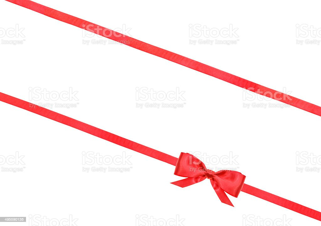 red satin bow knot and ribbons on white - 59 stock photo