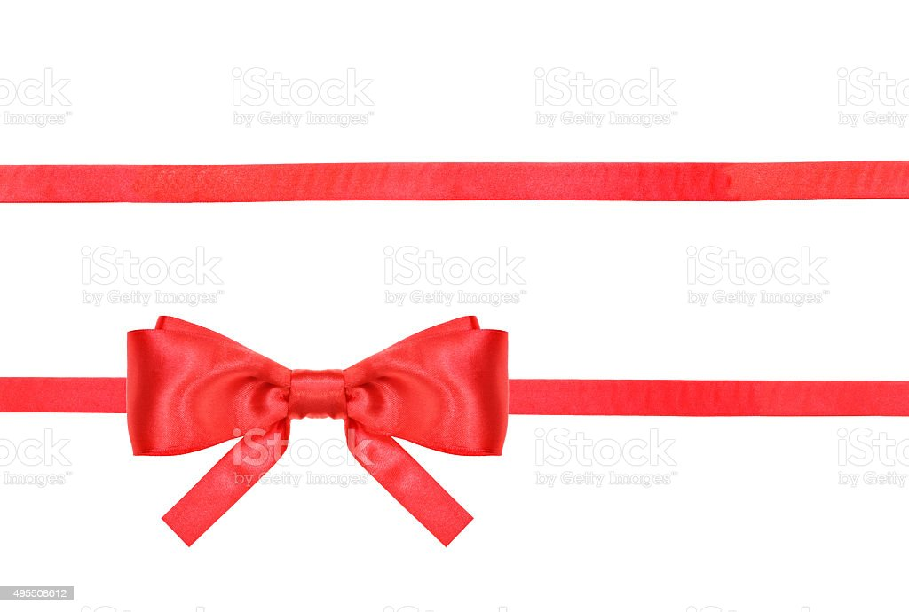 red satin bow knot and ribbons on white stock photo