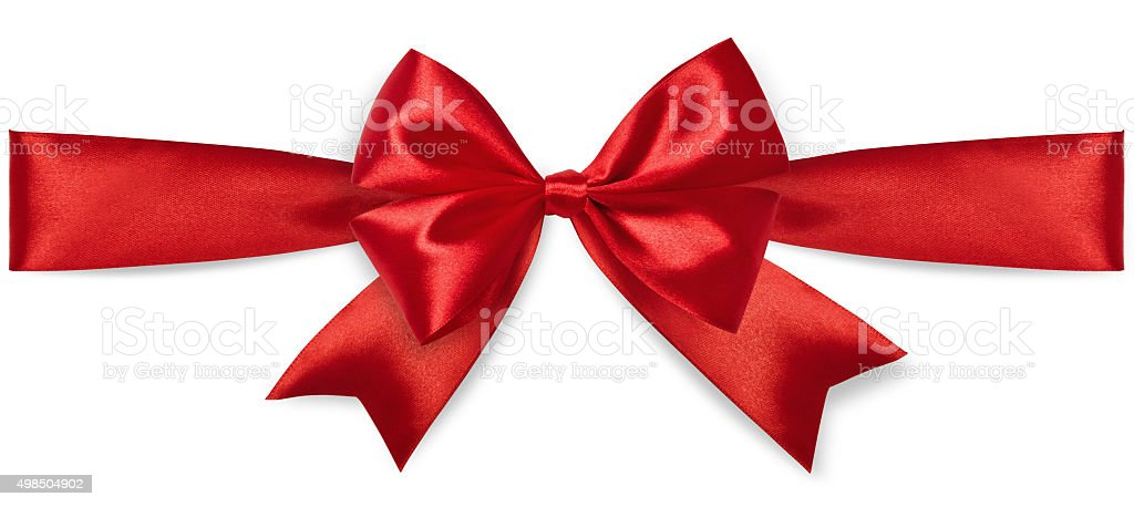 Red satin bow stock photo
