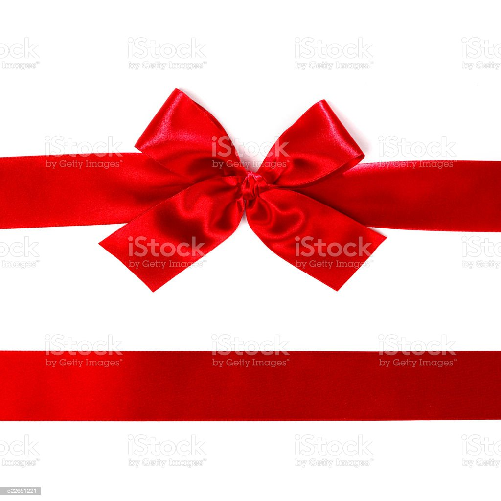 Red satin bow ribbon on white stock photo