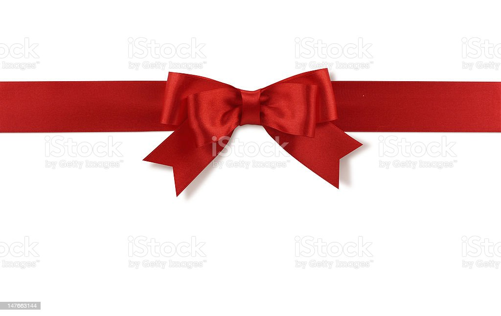 Red satin bow tied on the top 1/4th of a white background stock photo