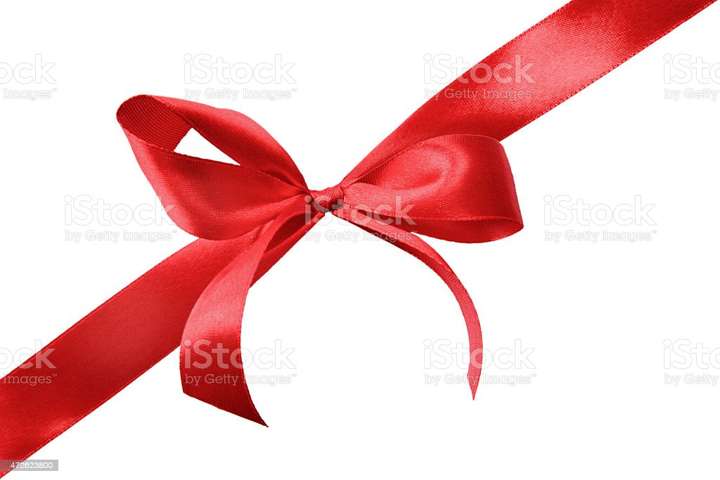A red satin gift bow on a white background stock photo