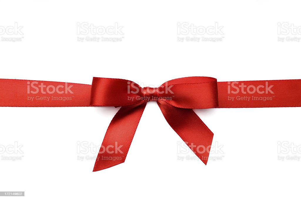 Red Satin Gift Bow (Clipping Path) royalty-free stock photo