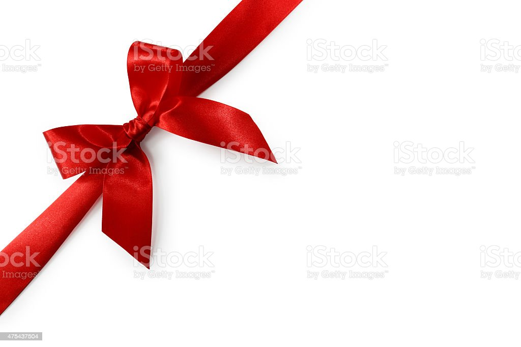Red Satin Gift Bow (Clipping Path) stock photo