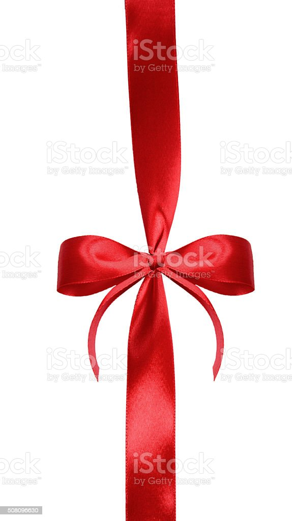 Red satin gift bow stock photo
