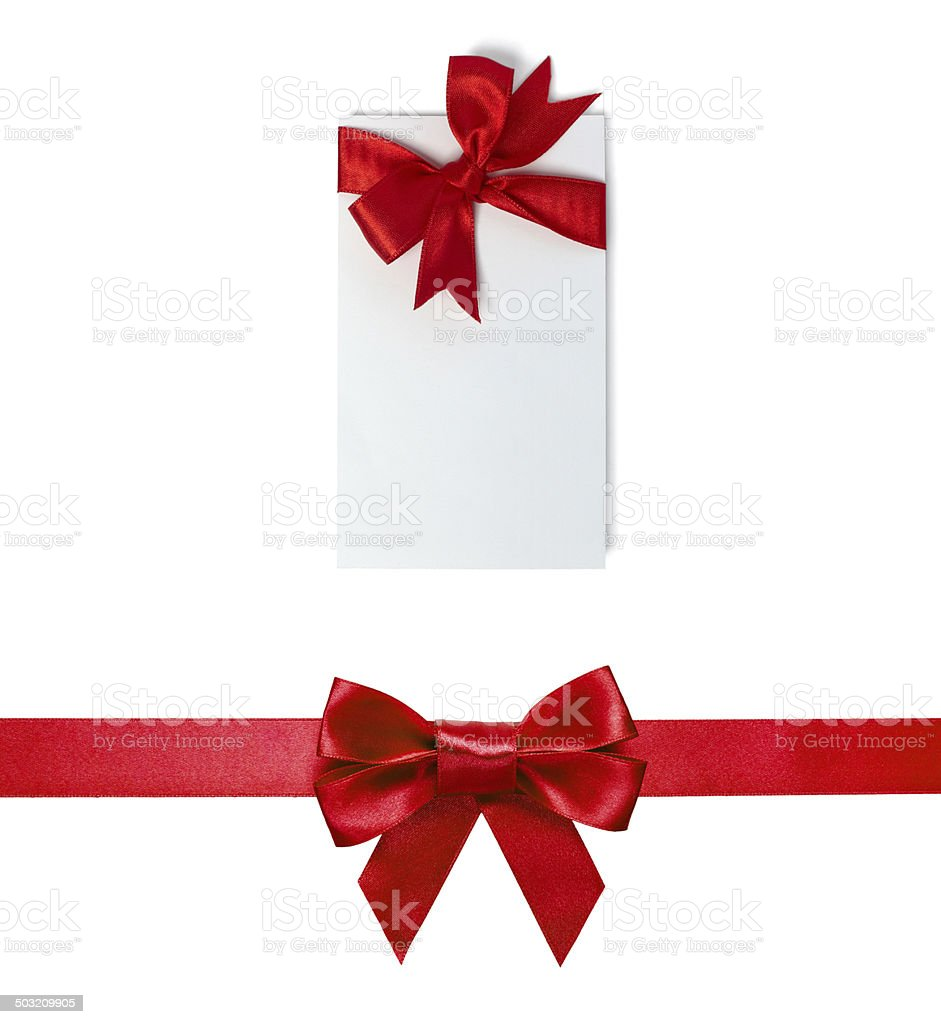 Red Satin Gift Bow with Blank Gift or Price Tag stock photo