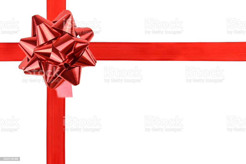 Red Satin Ribbon And Gift Bow stock photo