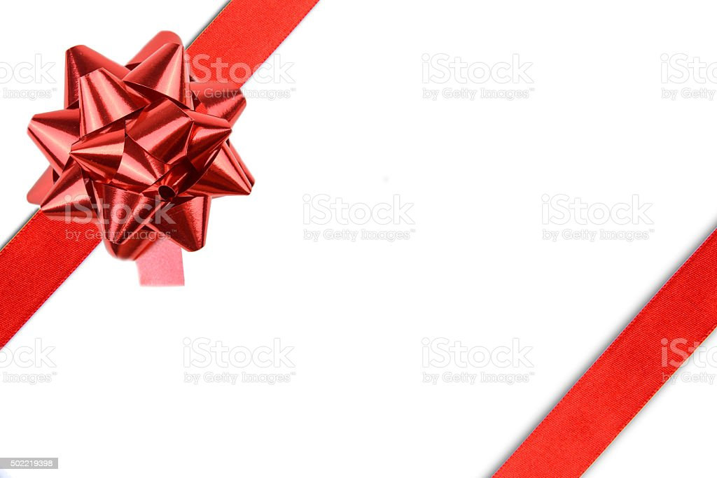 Red Satin Ribbon And Red Shiny Gift Bow stock photo