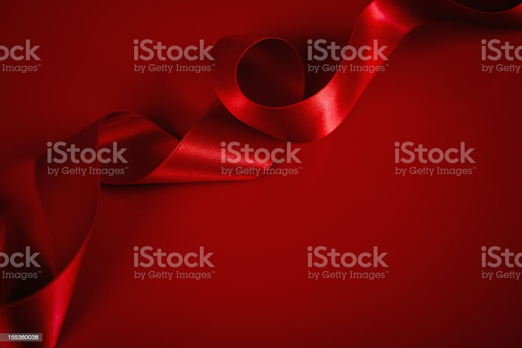 Red Satin Ribbon Background stock photo