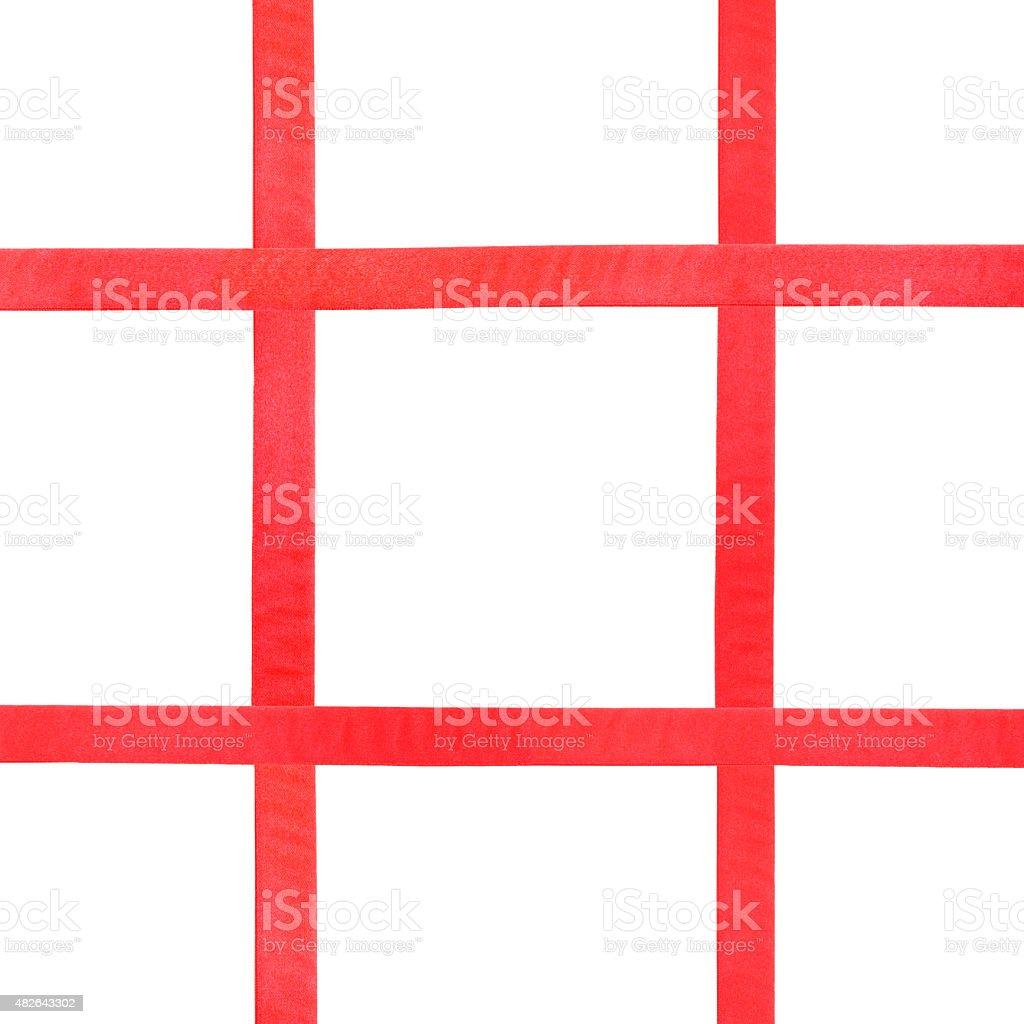 red satin ribbons on white - set 36 stock photo