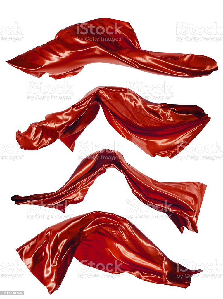 Red satins shape on white background stock photo