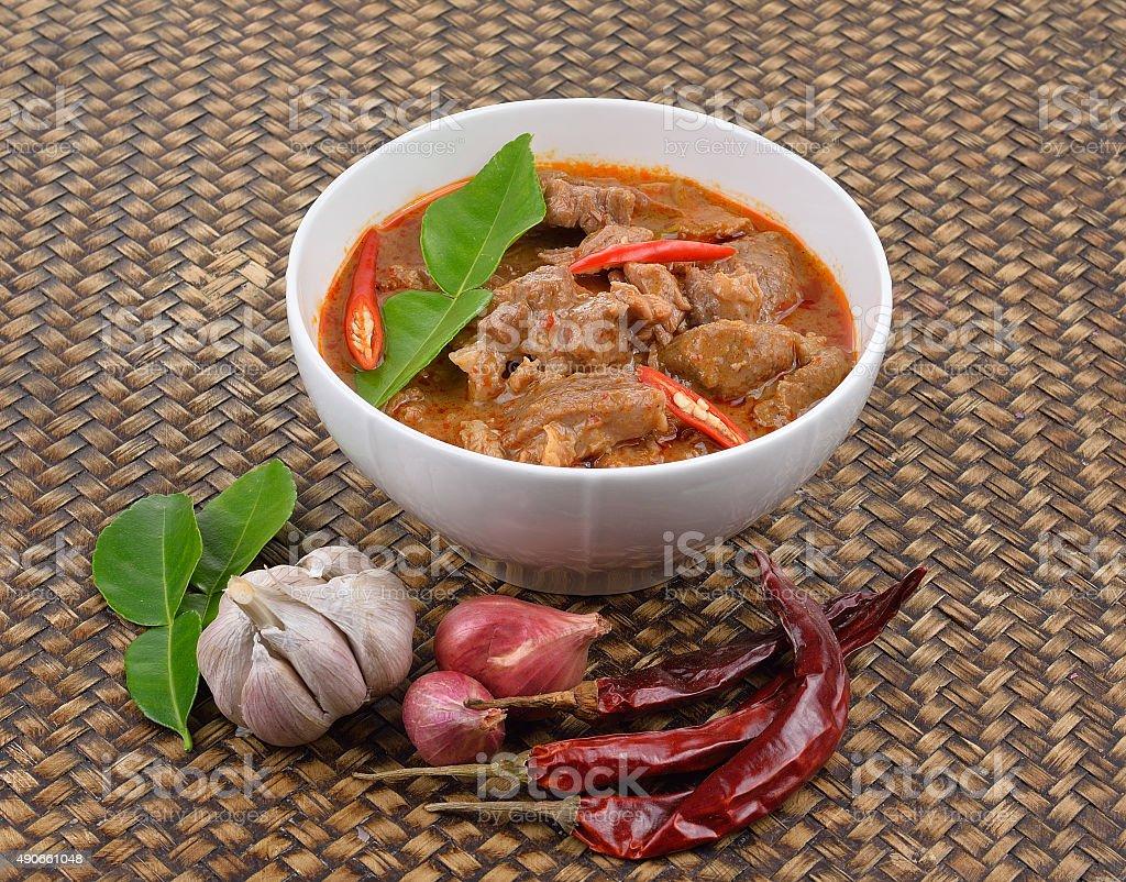 Pikantny na Wieprzowina w czerwonym curry zbiór zdjęć royalty-free