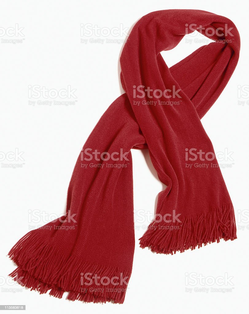 red scarf cut out on white stock photo