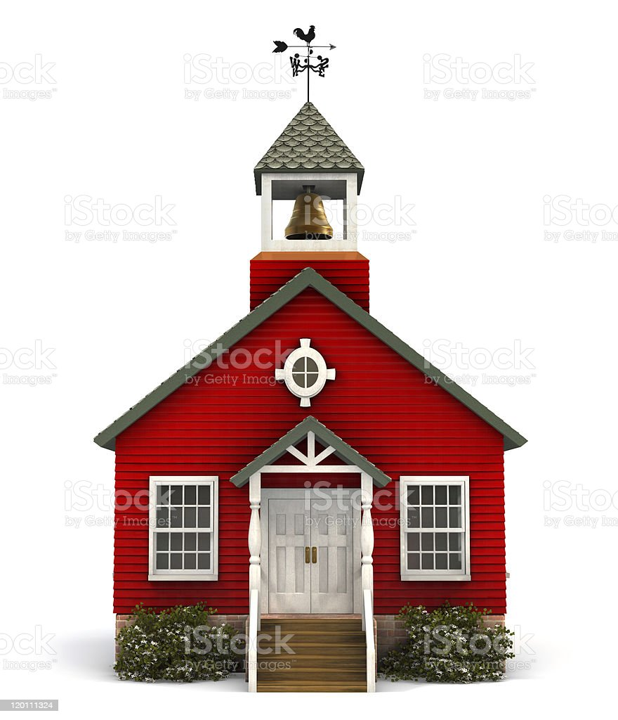 Red Schoolhouse Facade stock photo