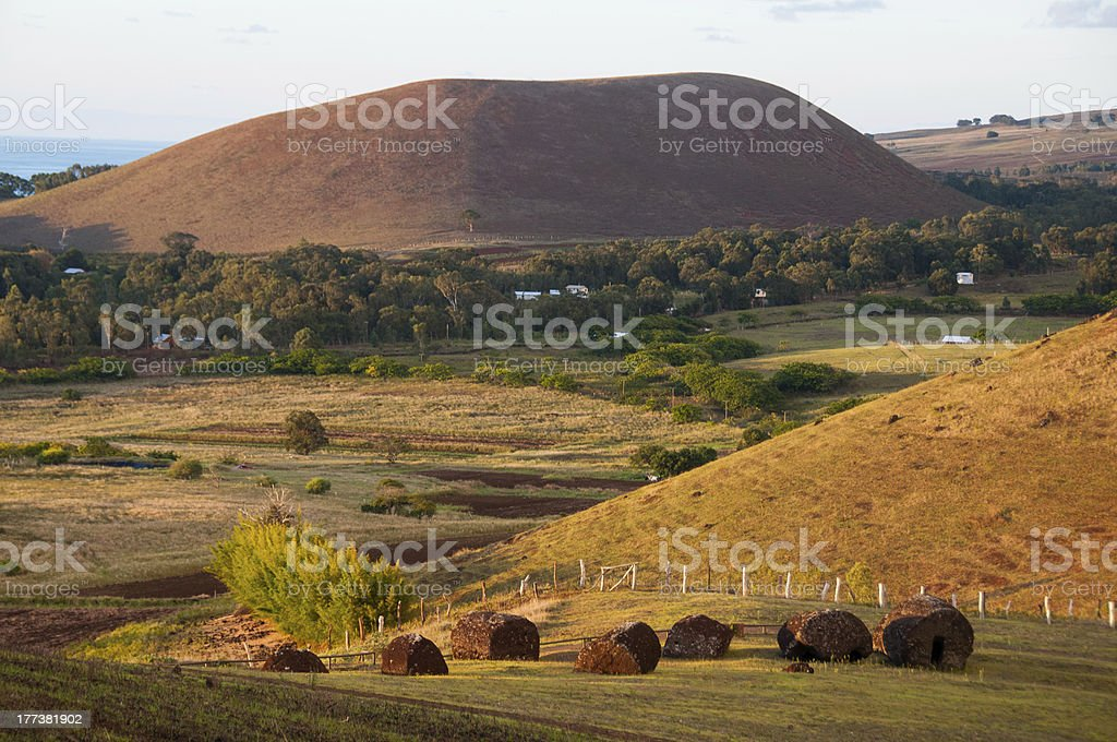 Red scoria rock topknots on Easter Island royalty-free stock photo