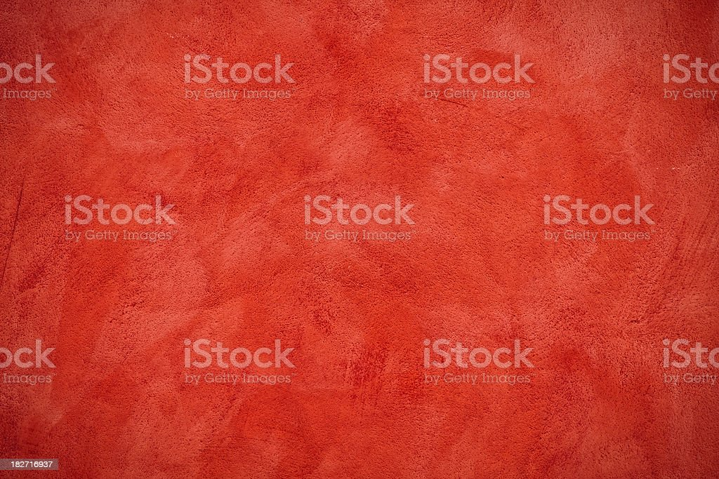 Red Scratched Plaster Wall, Texture Background stock photo