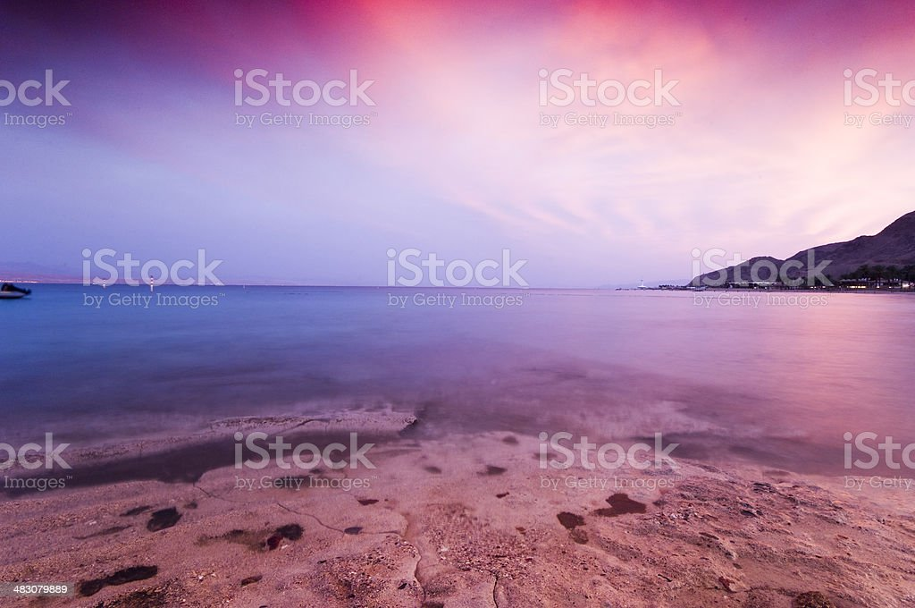 Red sea at sunset stock photo