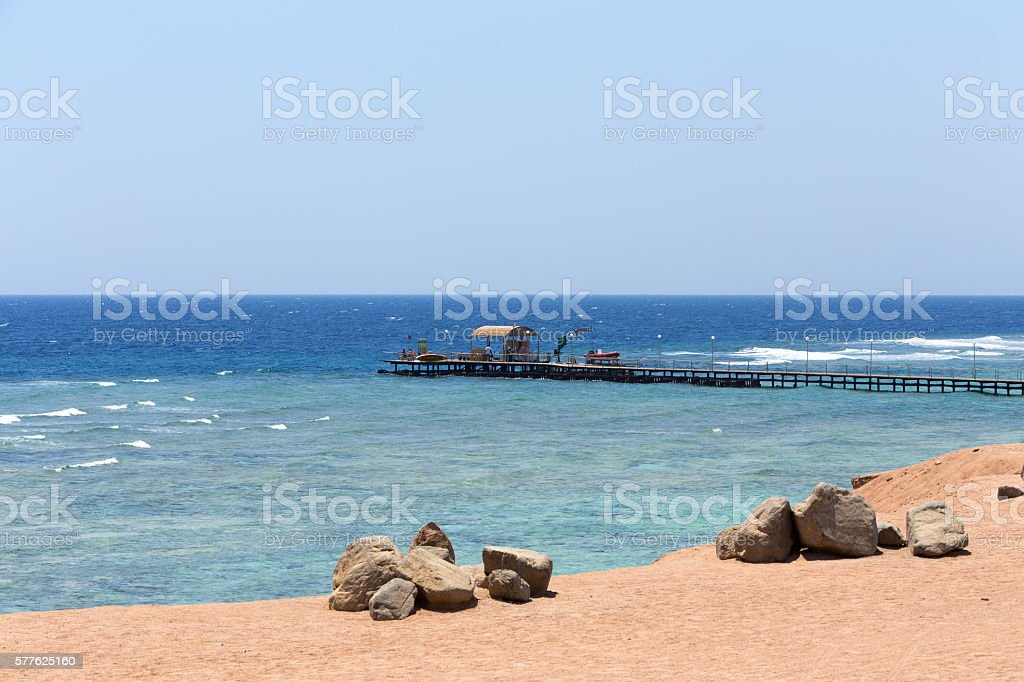 Red sea coastline with diving pier, Egypt stock photo