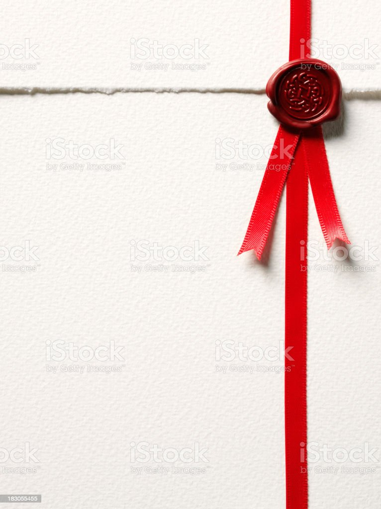 Red Seal of Approval Stamp stock photo