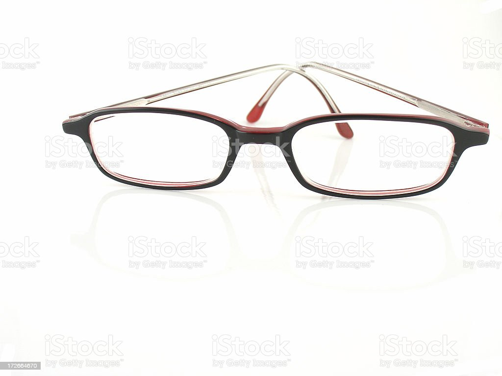 Red secretary glasses on white isolated background royalty-free stock photo