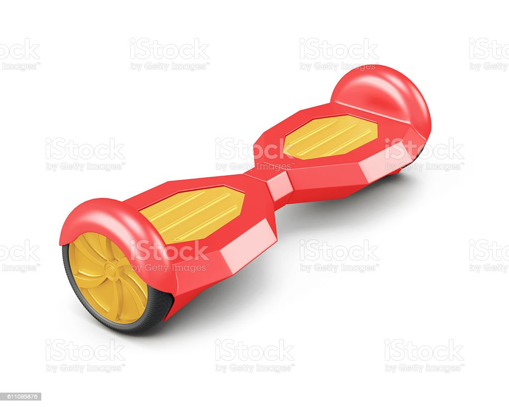Red self balance scooter. 3d rendering stock photo