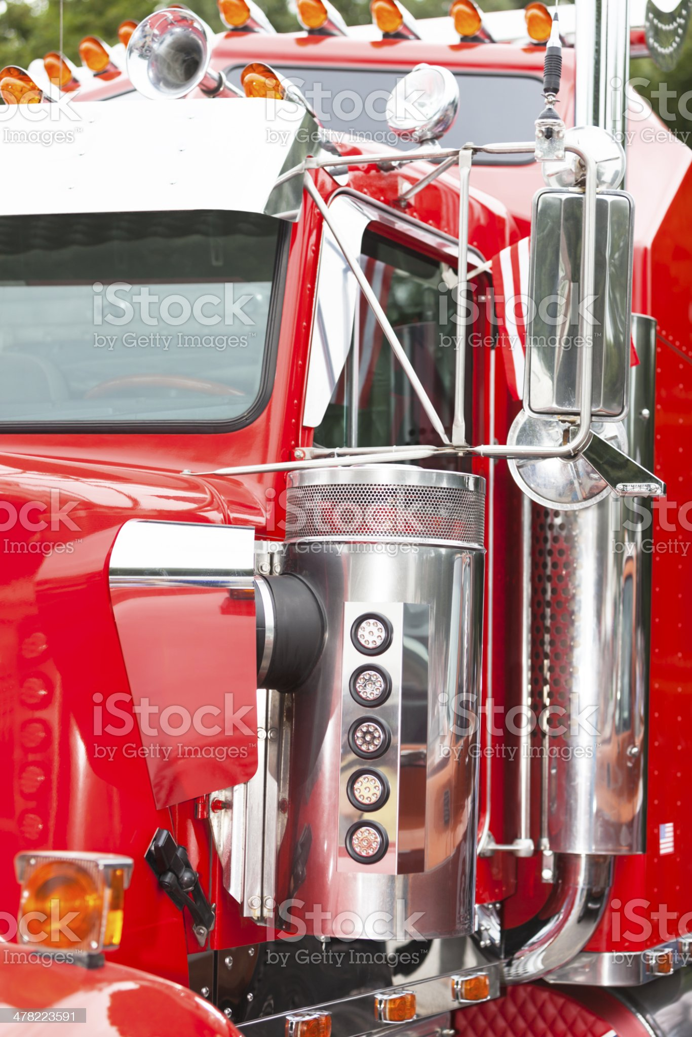 Red Semi Truck Close-Up royalty-free stock photo