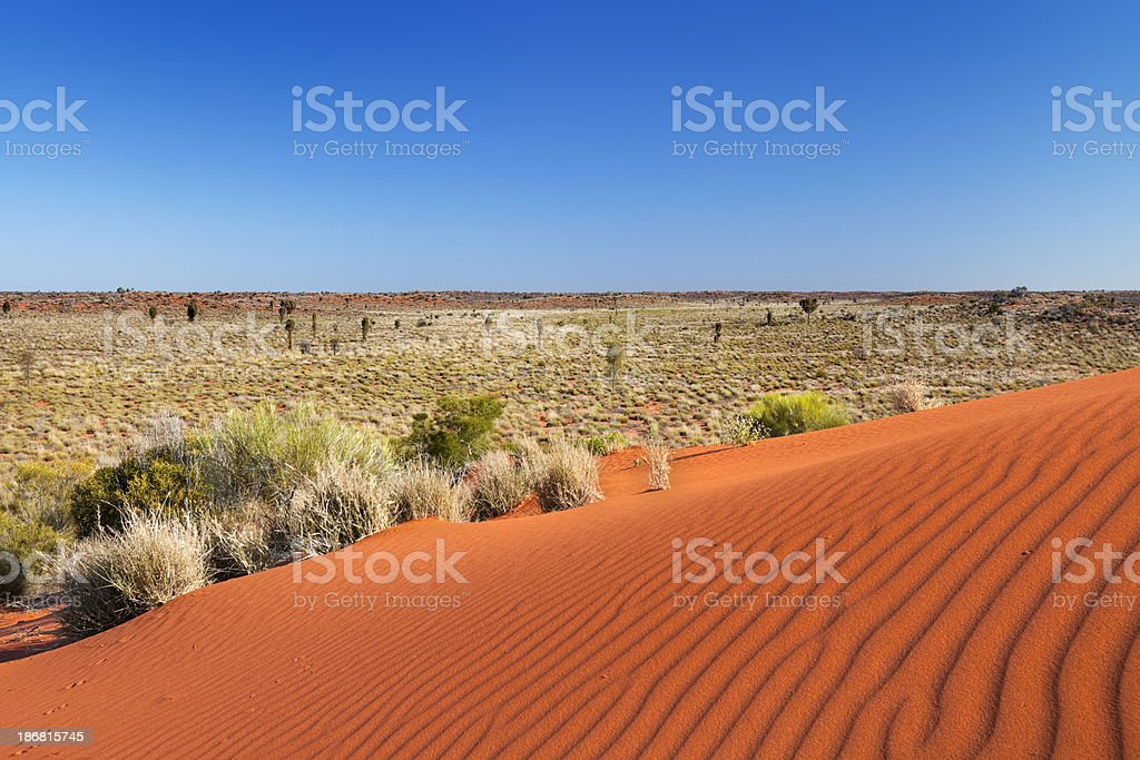 Red send dune on a clear day, Northern Territory, Australia stock photo