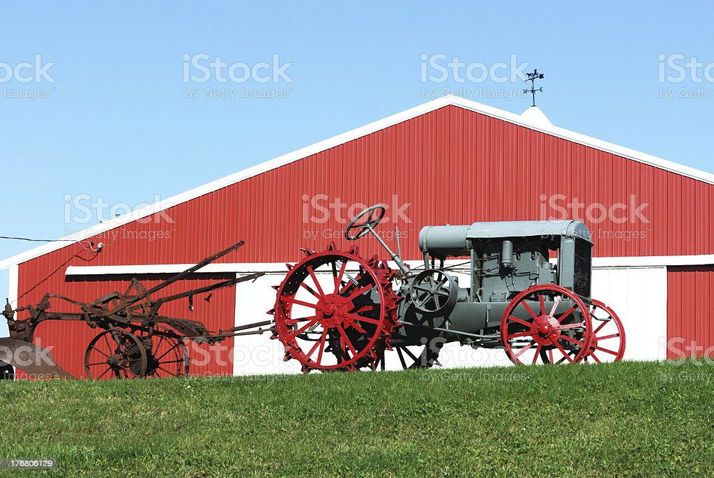 Red Shed and Old Tractor royalty-free stock photo