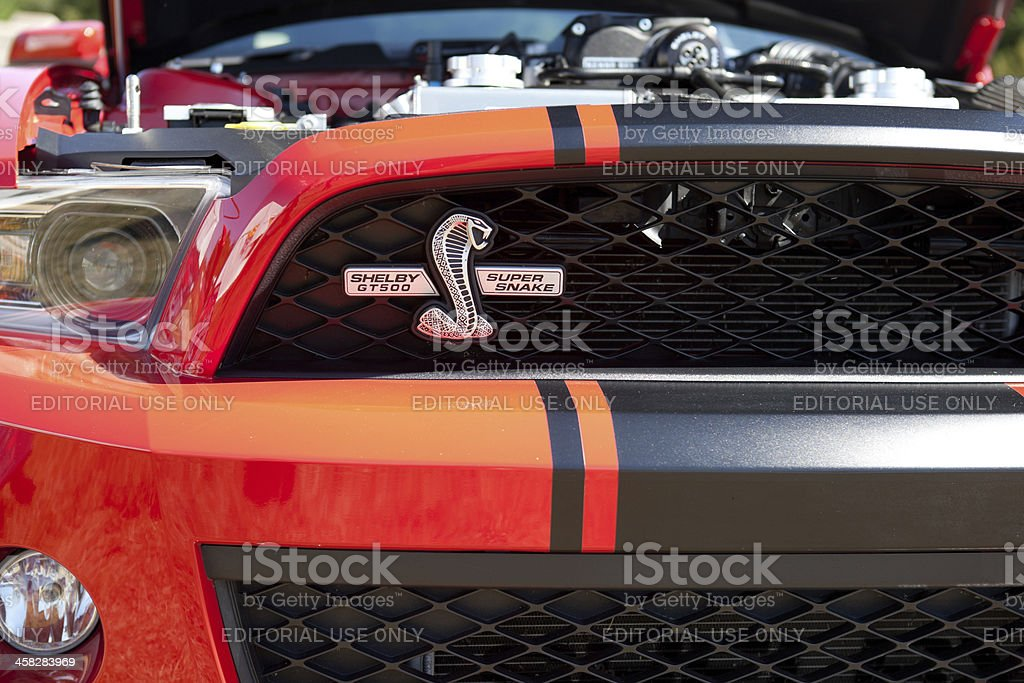 Red Shelby Cobra Super Snake Mustang Grille stock photo