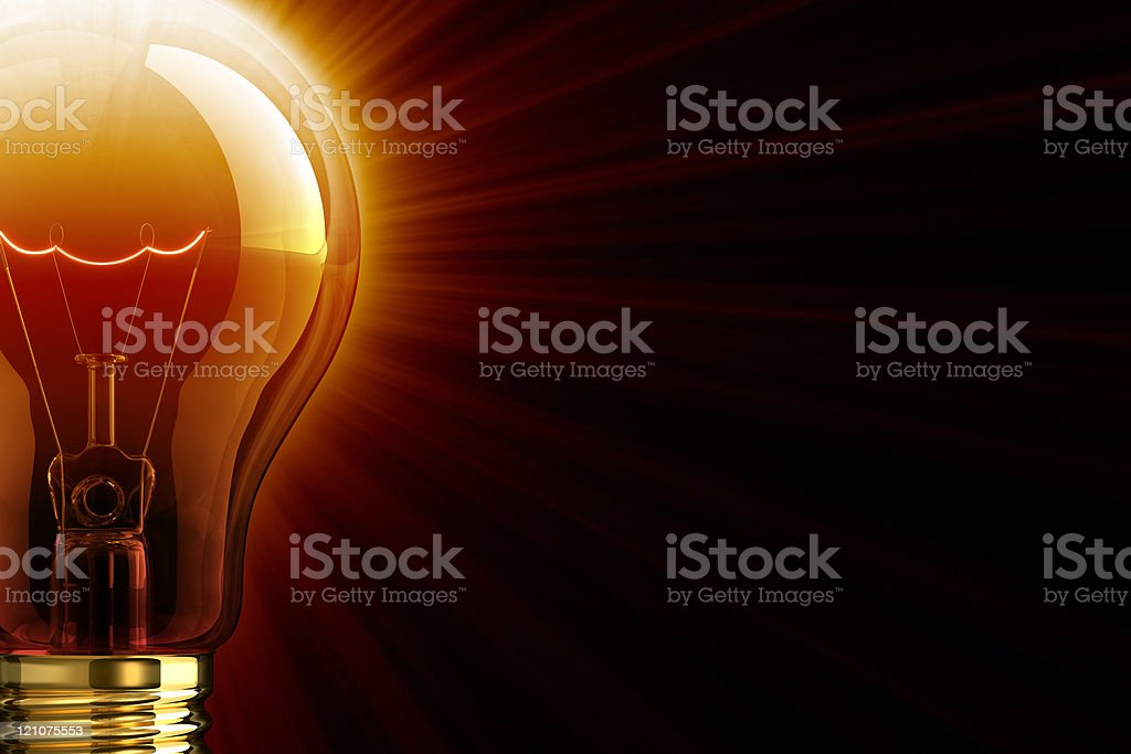 Red Shine Of Light Bulb stock photo
