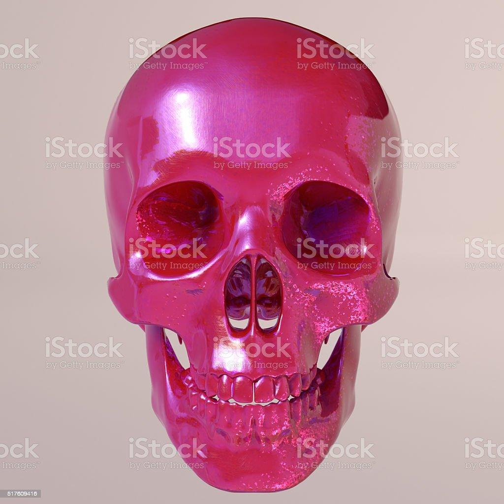 Red shine skull stock photo