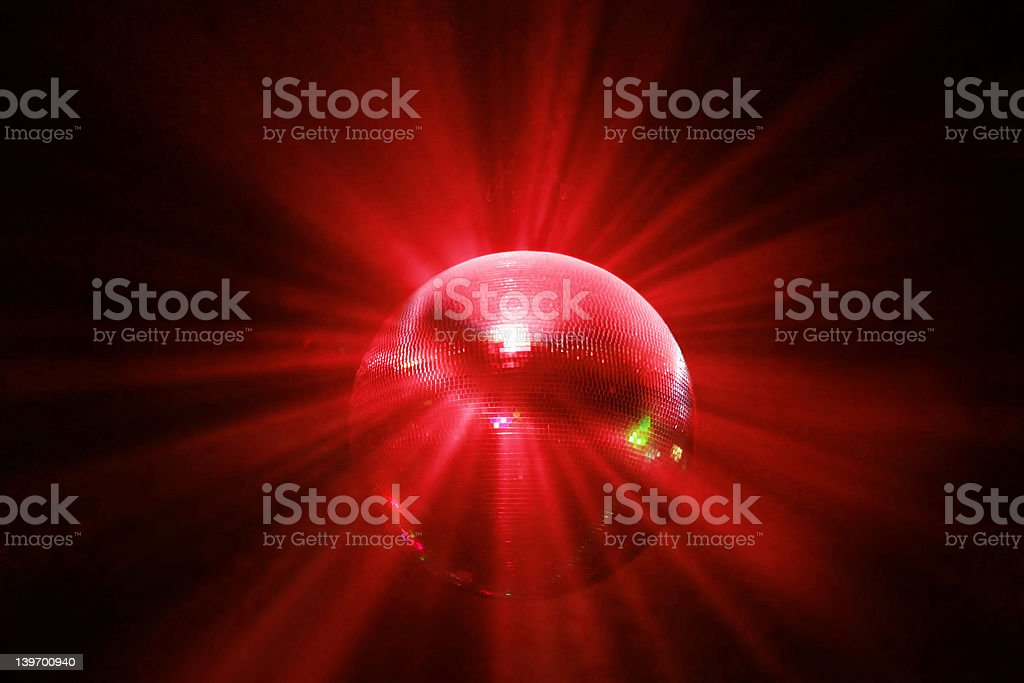 red shining disco ball in motion royalty-free stock photo