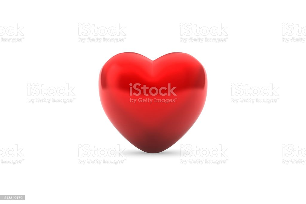 Red Shiny 3D Heart with Drop Shadow on Isolated Background stock photo