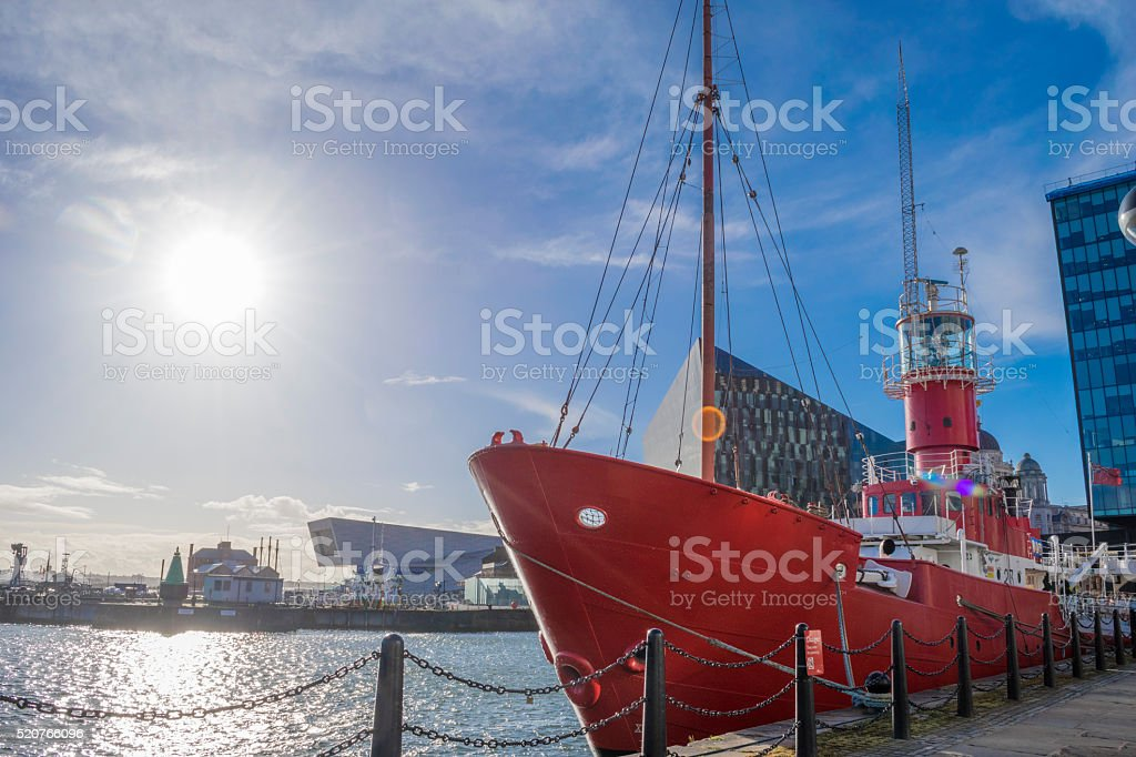 Red ship at Liverpool docks stock photo