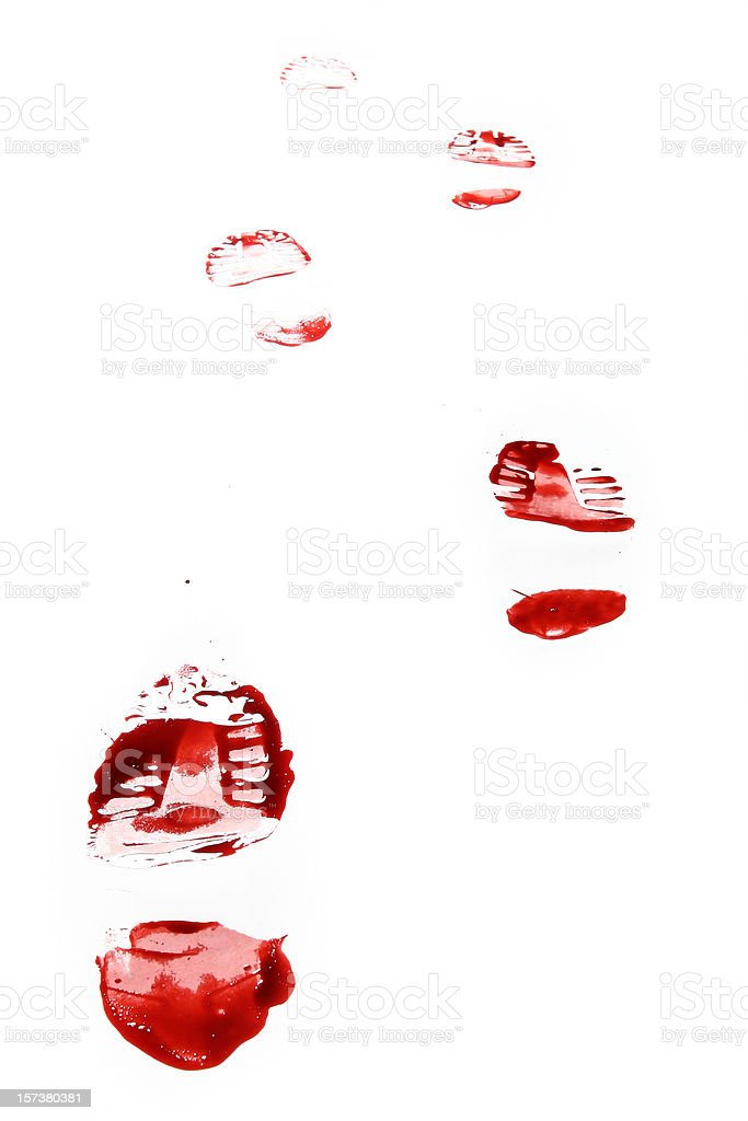 Red Shoe Print on White Background stock photo