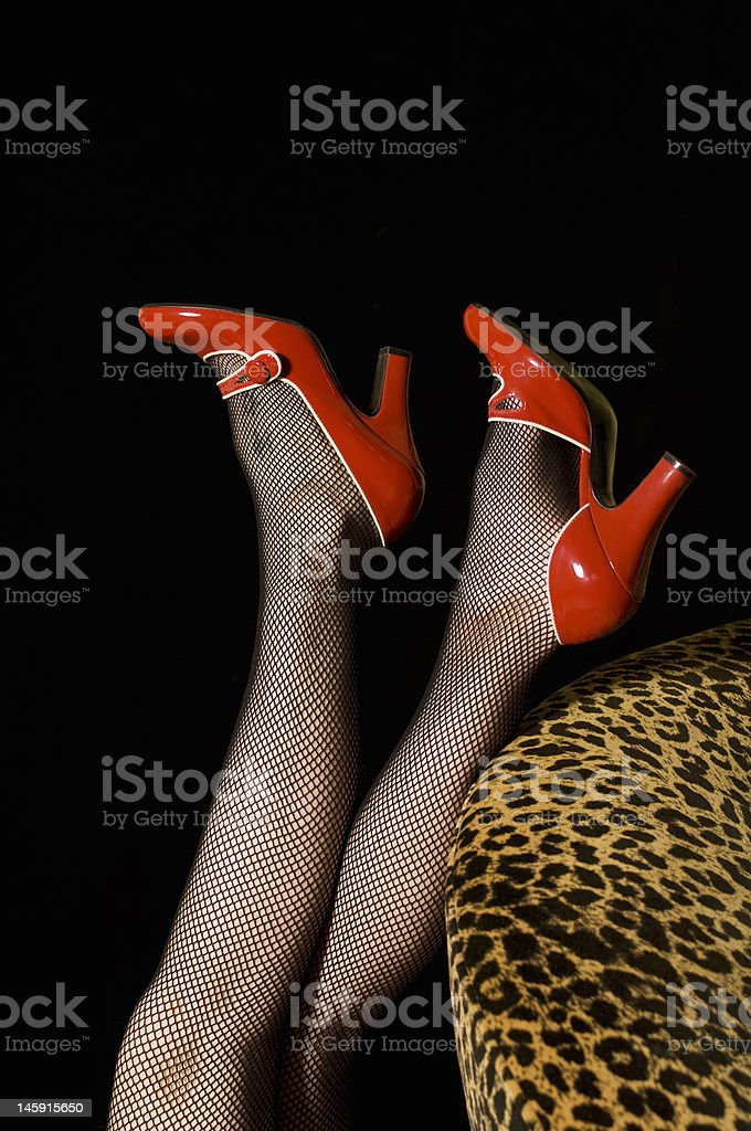 Red Shoes, Fishnet, and Leopard Skin royalty-free stock photo
