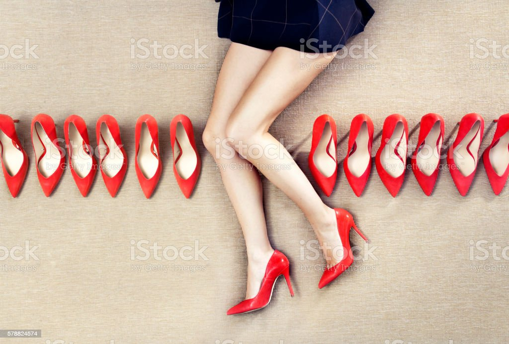 Red shoes in a Row stock photo