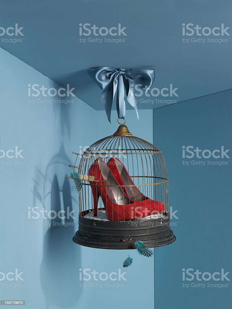 Red shoes in vintage bird cage. royalty-free stock photo