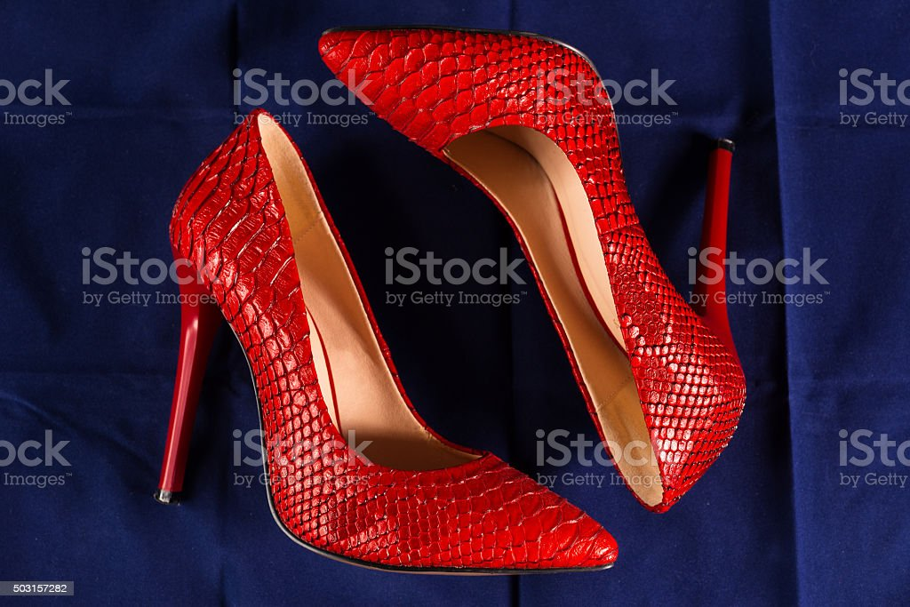 red shoes of snakeskin stock photo