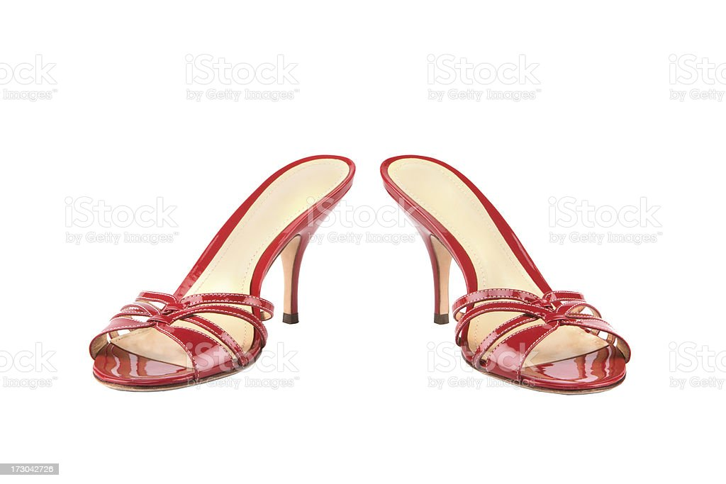 Red shoes on white with path stock photo