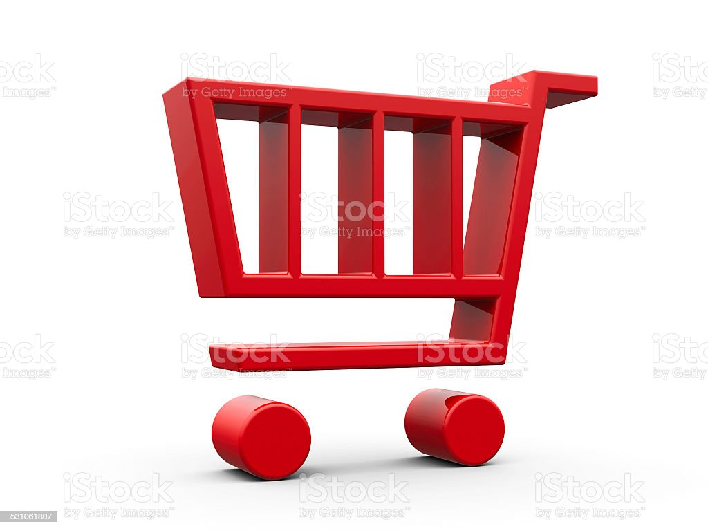Red shop cart stock photo