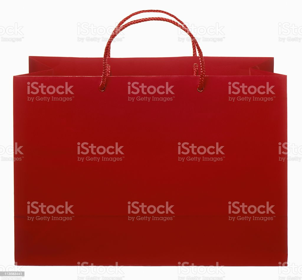 red shopping bag cut out on white royalty-free stock photo